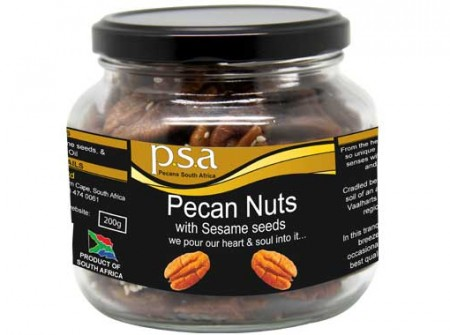 Pecan nuts flavoured with a textured delight of Sesame seeds and roasted to perfection
